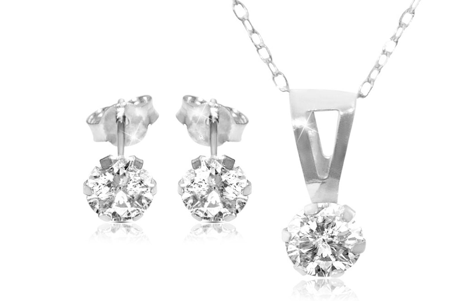Vera Perla 18K Solid White Gold and Cubic Zircon Solitaire Necklace and Earrings