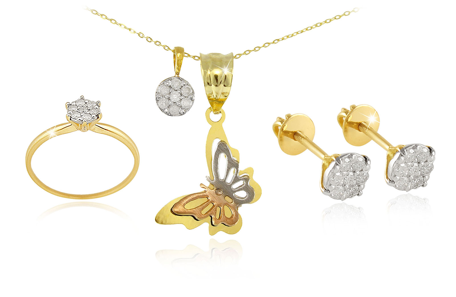 Vera Perla 18k Solid Gold Diamonds Solitaire Earrings, Ring and Necklace Set