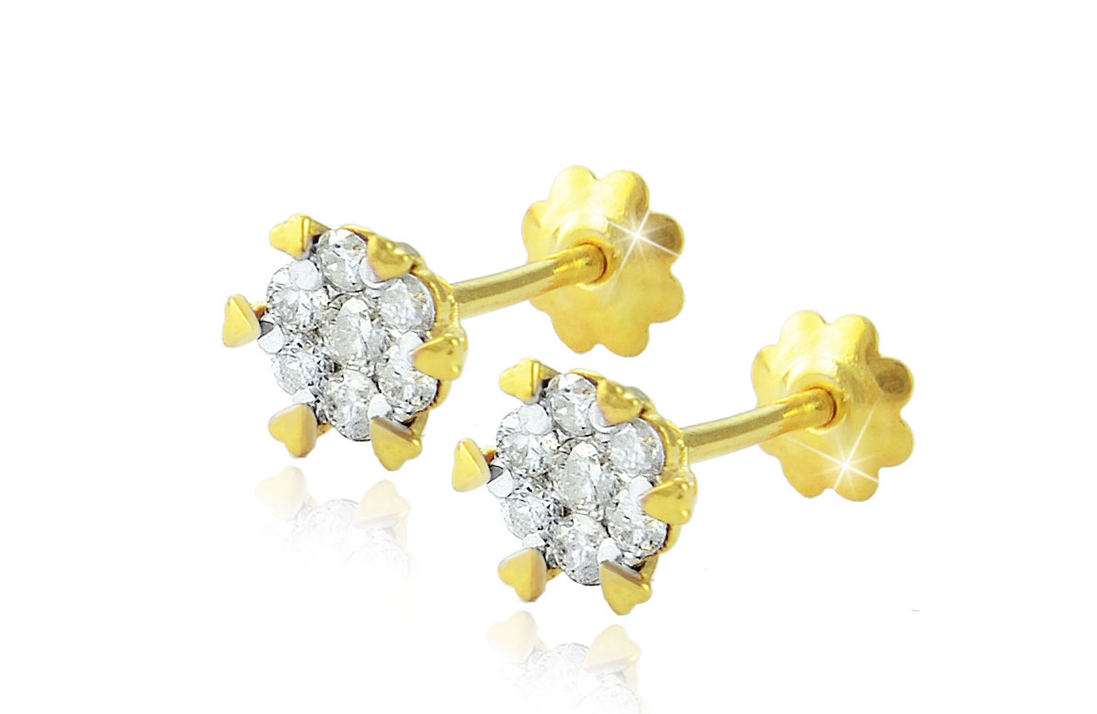 Vera Perla 18K Solid Gold 0.22Cts Diamonds Hearts Solitaire Earrings
