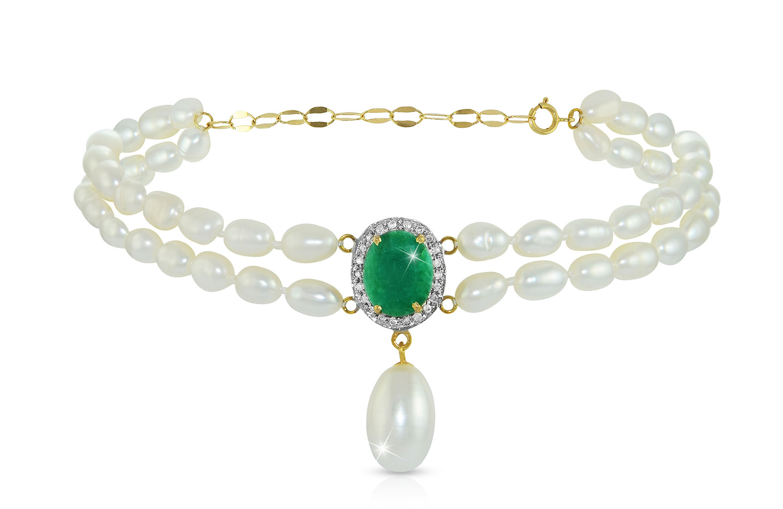 Vera Perla 18k  Gold 10mm Genuine Oval   Cut Emerald 0.12Ct Genuine Diamonds and Pearls Bracelet