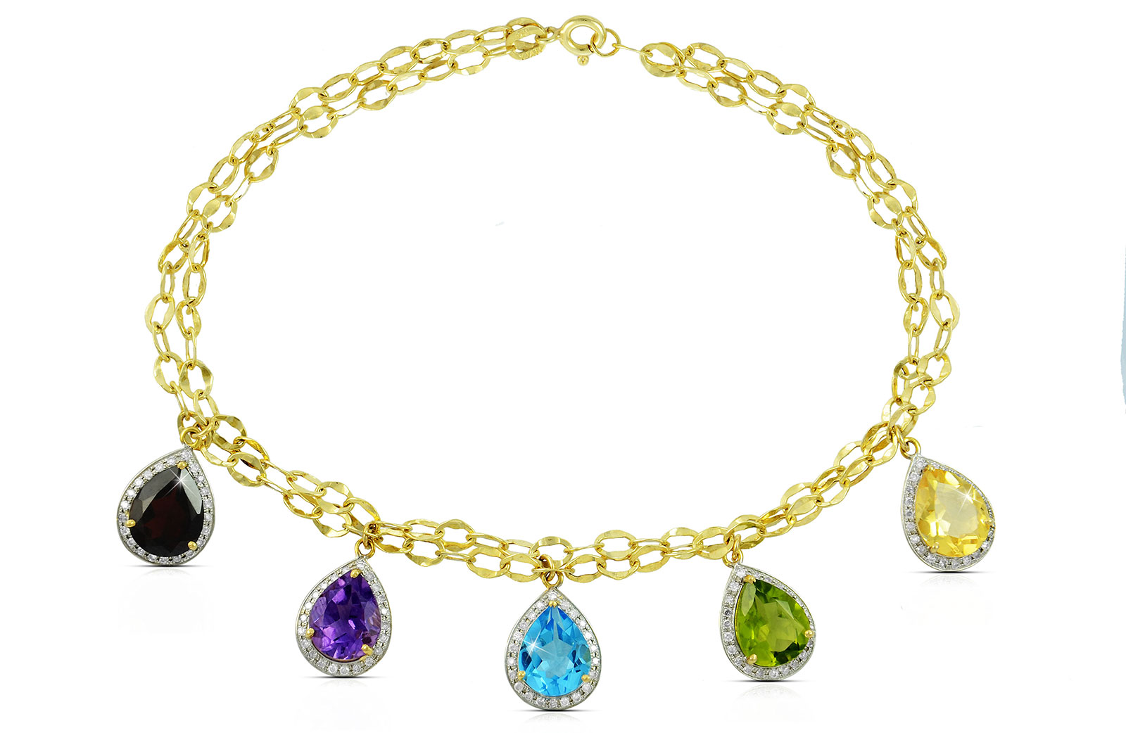 Vera Perla 18K  Gold 0.64Ct Genuine Diamonds, Garnet, Amethyst, Swiss Blue Topaz, Peridot, Citrine Bracelet