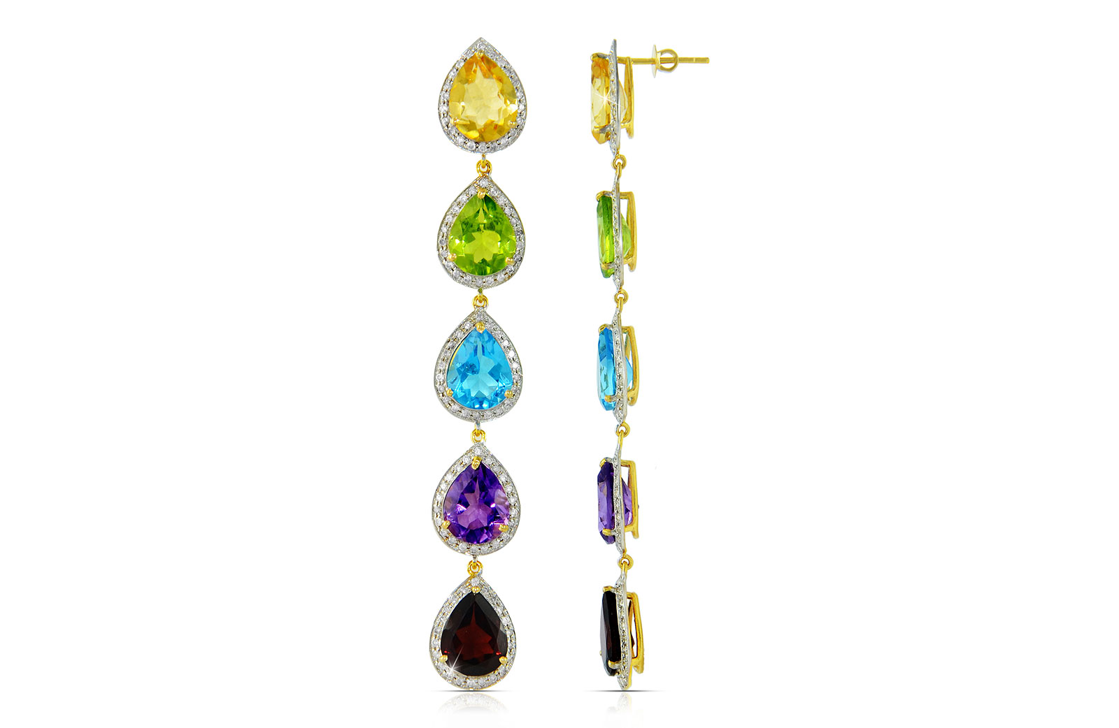 Vera Perla 18K  Gold 1.28Ct Genuine Diamonds, Citrine, Peridot, Swiss Blue Topaz, Amethyst, Garnet earrings