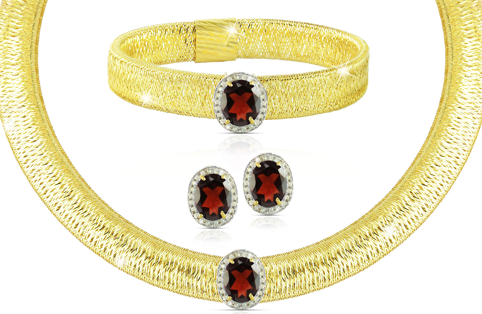 Vera Perla 18K  Gold 0.52Cts Genuine Diamonds and 10mm Genuine Garnets Necklace, Bracelet and earrings Set