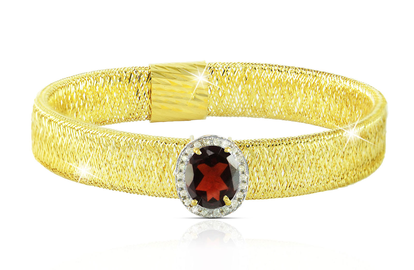 Vera Perla 18k  Gold 10mm Genuine Oval   Cut Garnet 0.12Ct Genuine Diamonds Bracelet