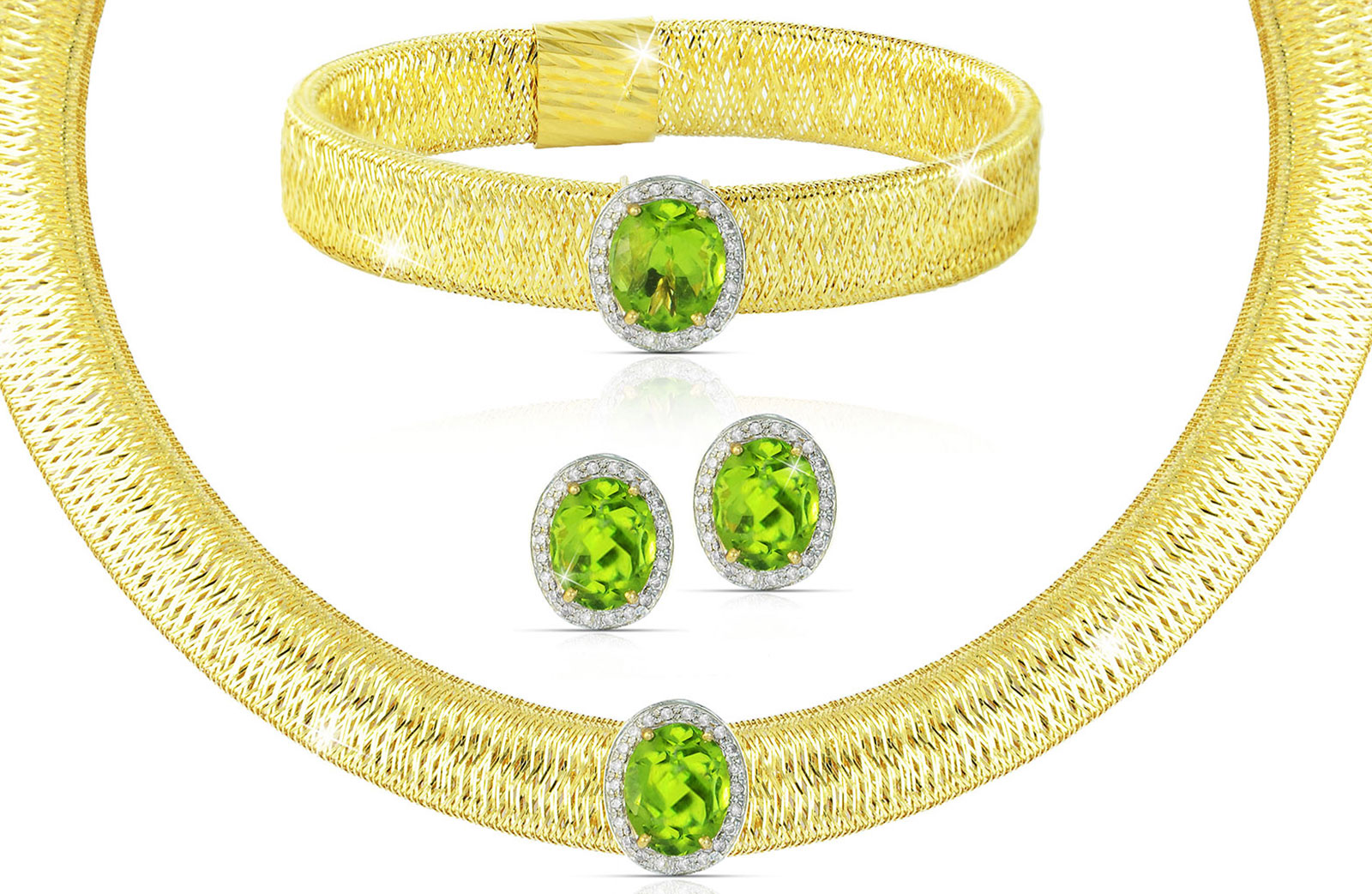 Vera Perla 18K  Gold 0.52Cts Genuine Diamonds and 10mm Genuine Peridots Necklace, Bracelet and earrings Set