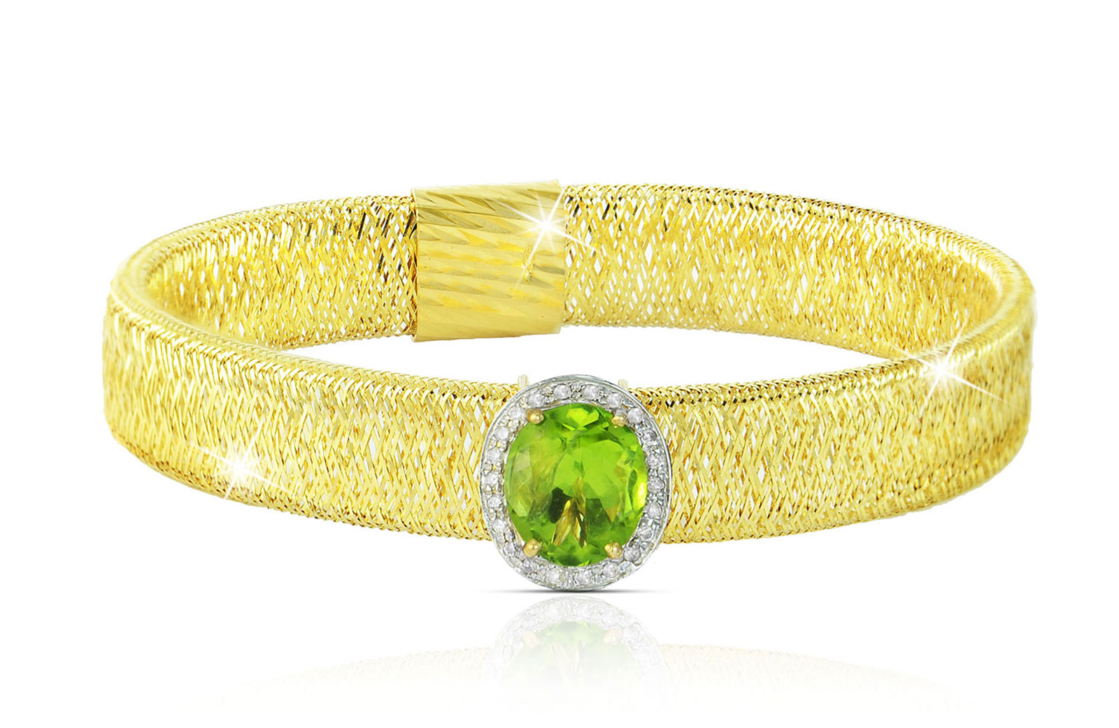 Vera Perla 18k  Gold 10mm Genuine Oval   Cut Peridot 0.12Ct Genuine Diamonds Bracelet