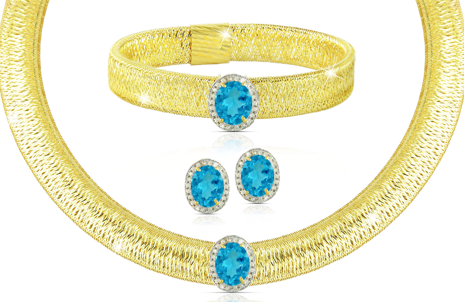 Vera Perla 18K  Gold 0.52Cts Genuine Diamonds and 10mm Genuine Swiss Blue Topazs Necklace, Bracelet and earrings Set