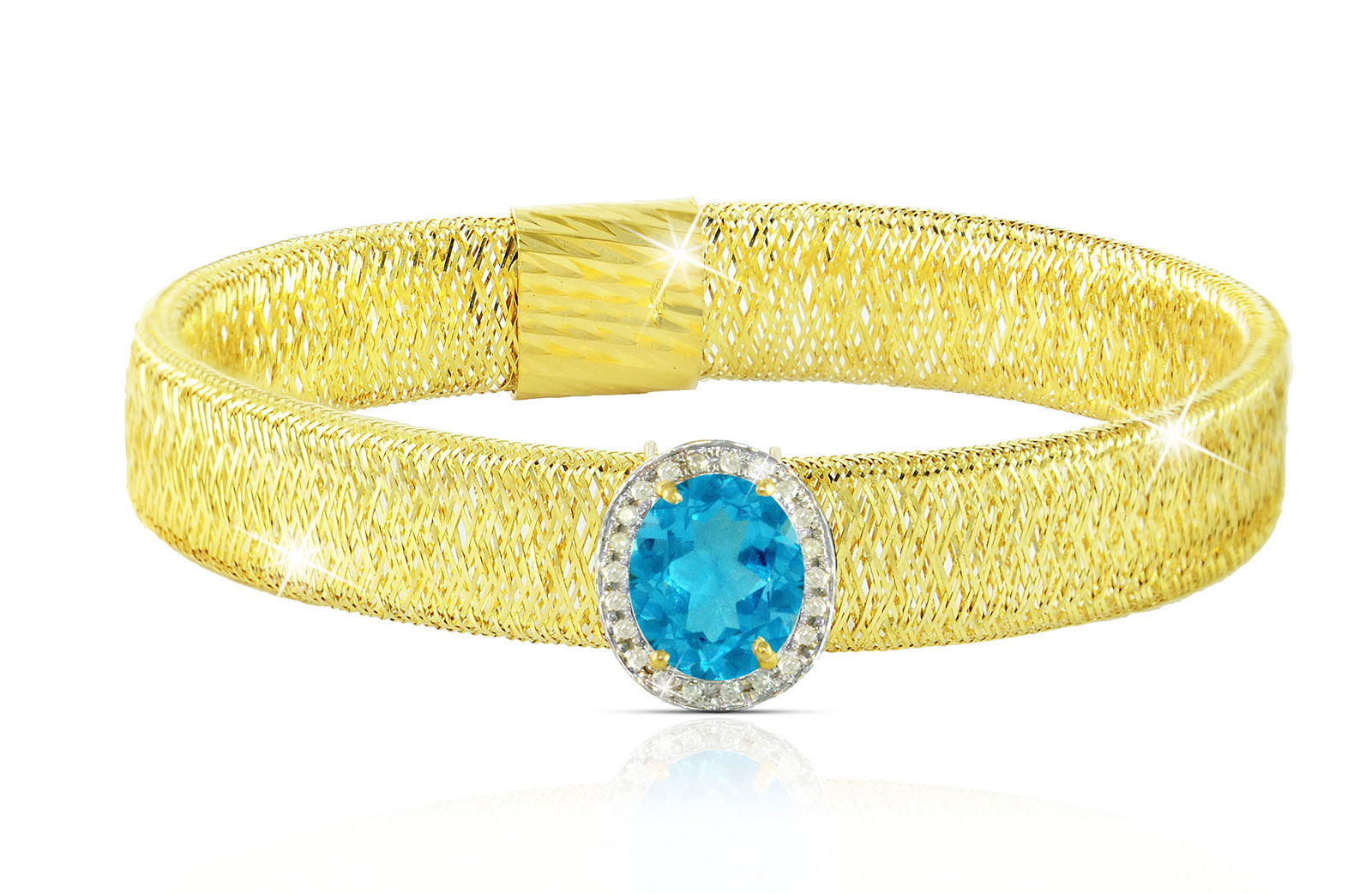 Vera Perla 18k  Gold 10mm Genuine Oval   Cut Swiss Blue Topaz 0.12Ct Genuine Diamonds Bracelet