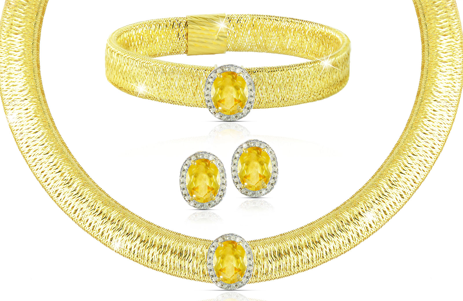Vera Perla 18K  Gold 0.52Cts Genuine Diamonds and 10mm Genuine Citrines Necklace, Bracelet and earrings Set