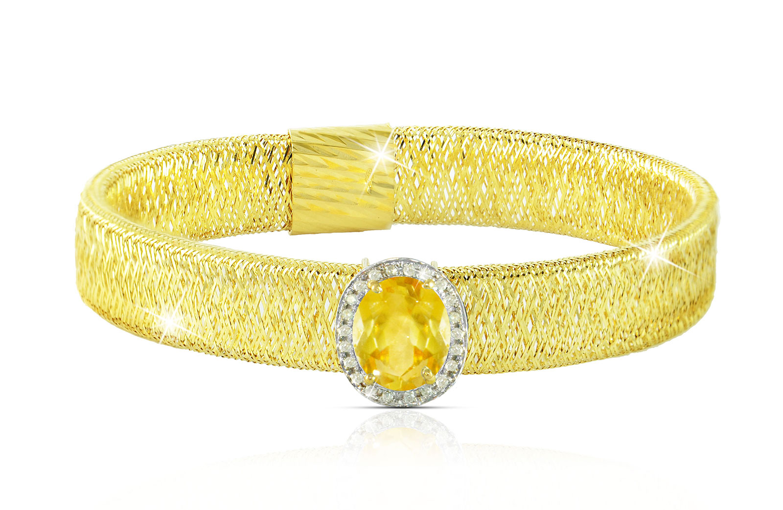 Vera Perla 18k  Gold 10mm Genuine Oval   Cut Citrine 0.12Ct Genuine Diamonds Bracelet