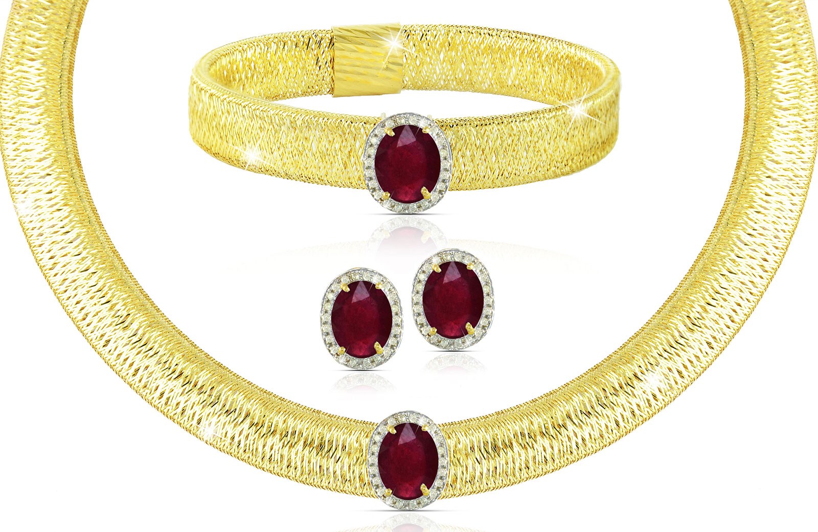 Vera Perla 18K  Gold 0.52Cts Genuine Diamonds and 10mm Genuine Rubys Necklace, Bracelet and earrings Set