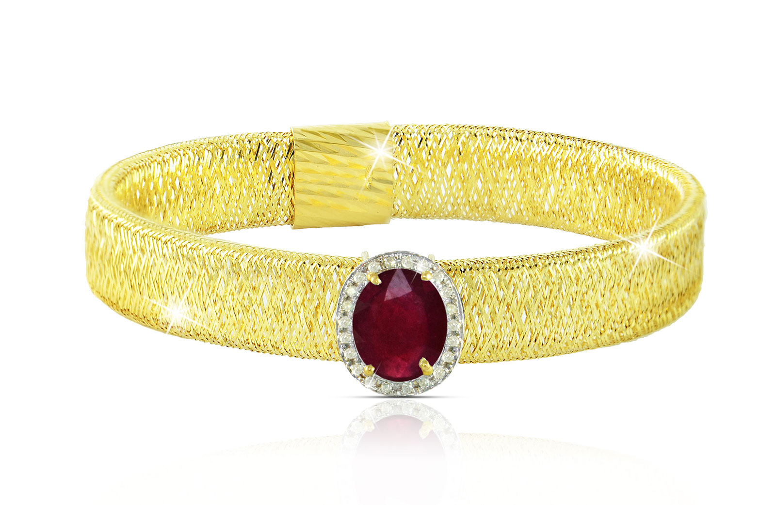 Vera Perla 18k  Gold 10mm Genuine Oval   Cut Ruby 0.12Ct Genuine Diamonds Bracelet