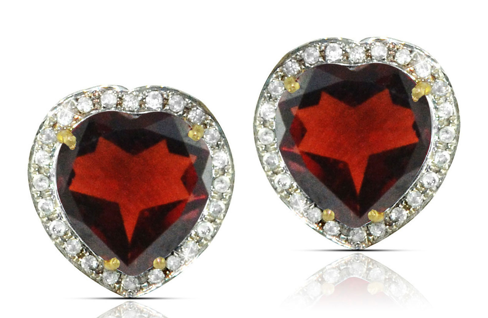 Vera Perla 18k  Gold 10mm Genuine Heart  Cut Garnet 0.28Ct Genuine Diamonds earrings