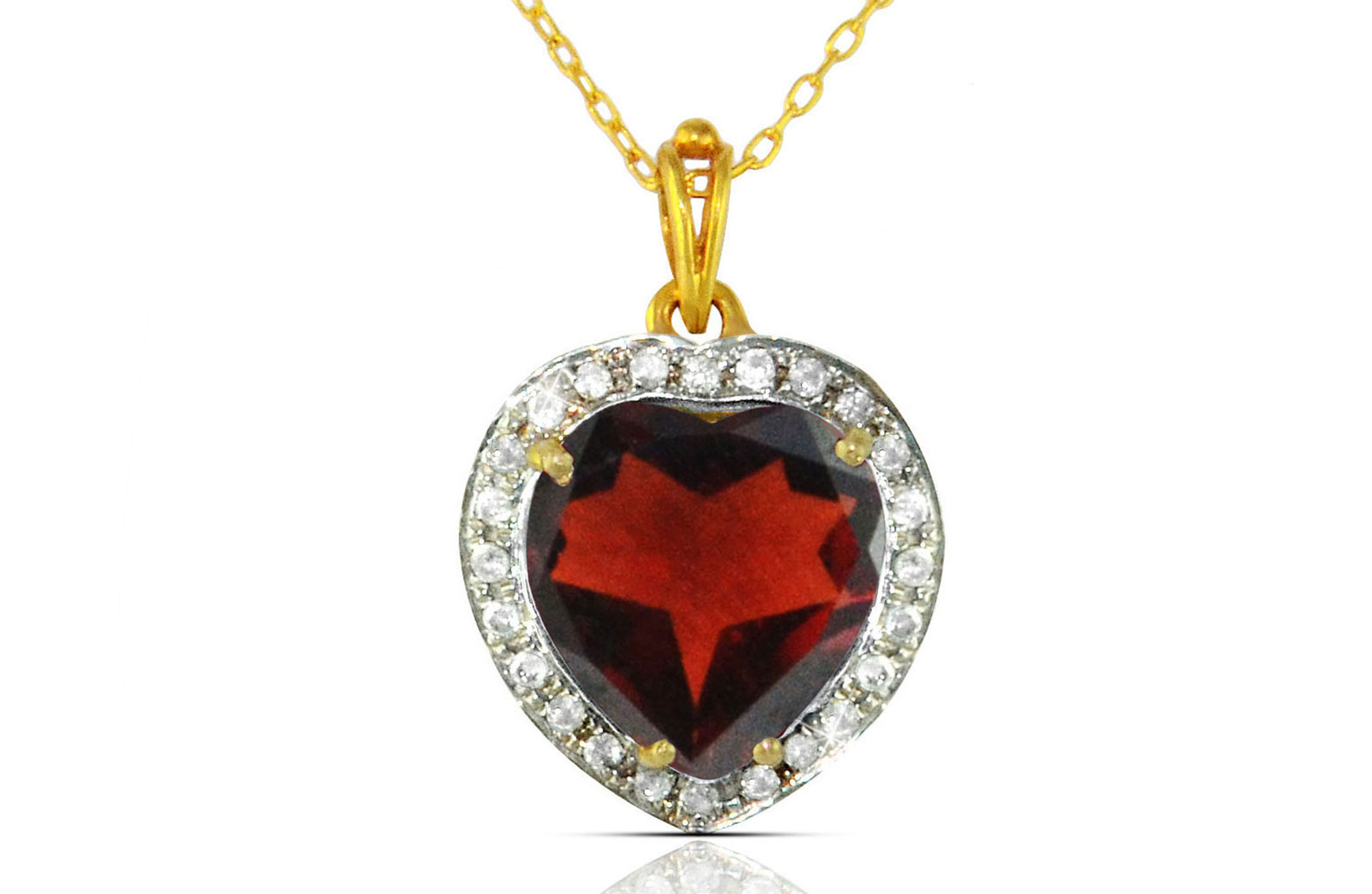 Vera Perla 18k  Gold 10mm Genuine Heart   Cut Garnet 0.14Ct Genuine Diamonds Necklace