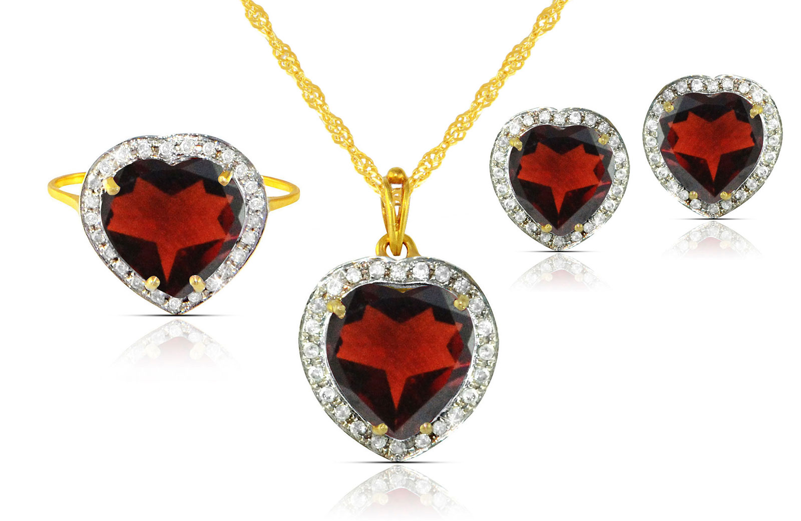 Vera Perla 18k  Gold 10mm Genuine Heart  Cut Garnet 0.56Ct Genuine Diamonds Jewelry Set
