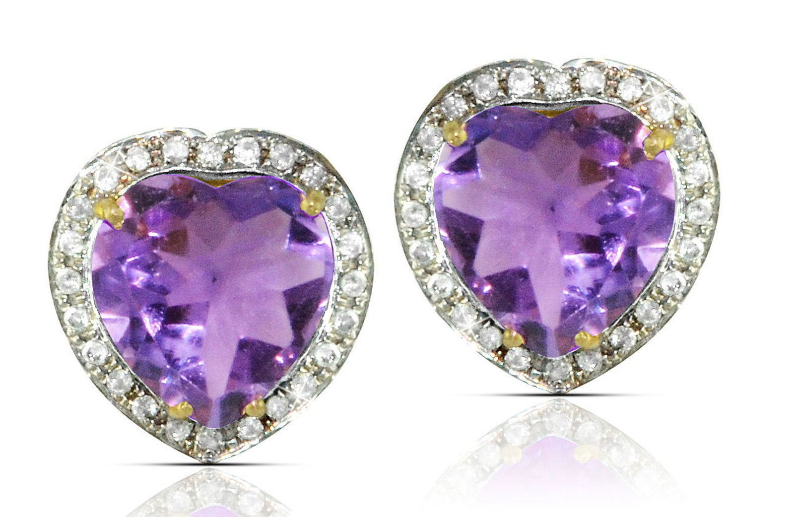 Vera Perla  18k  Gold 10mm Genuine Heart  Cut Amethyst 0.28Ct Genuine Diamonds earrings