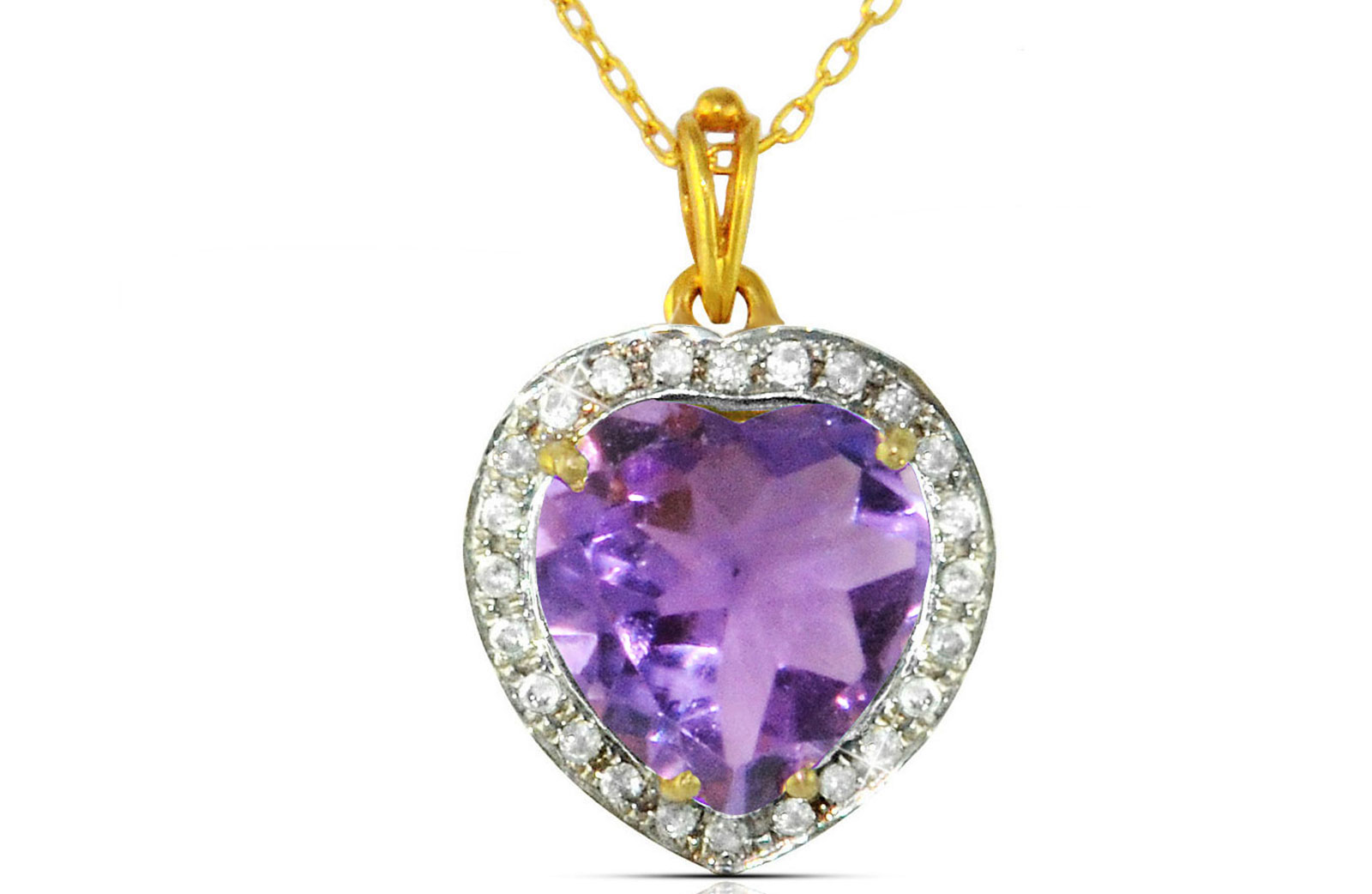Vera Perla 18k  Gold 10mm Genuine Heart   Cut Amethyst 0.14Ct Genuine Diamonds Necklace
