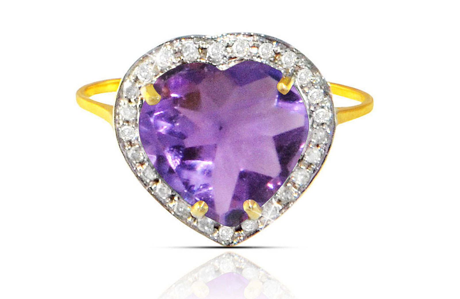 Vera Perla  18k  Gold 10mm Genuine Heart   Cut Amethyst 0.14Ct Genuine Diamonds Ring -SIZE 6.5 US