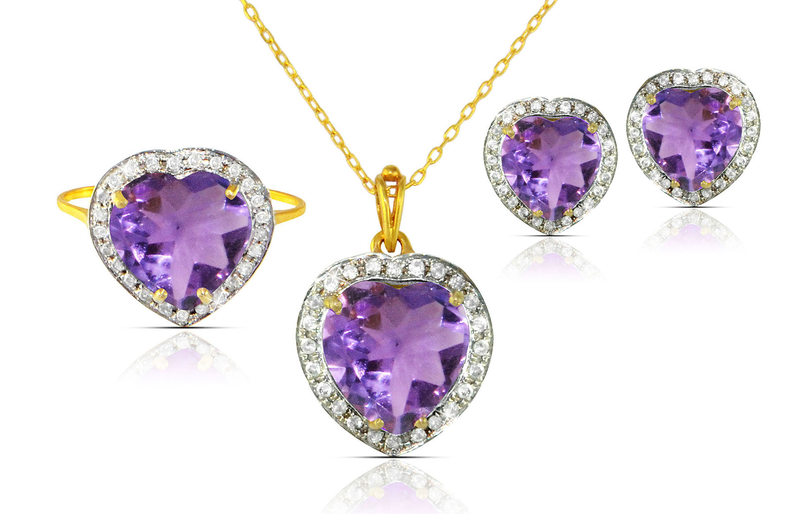 Vera Perla 18k  Gold 10mm Genuine Heart  Cut Amethyst 0.56Ct Genuine Diamonds Jewelry Set