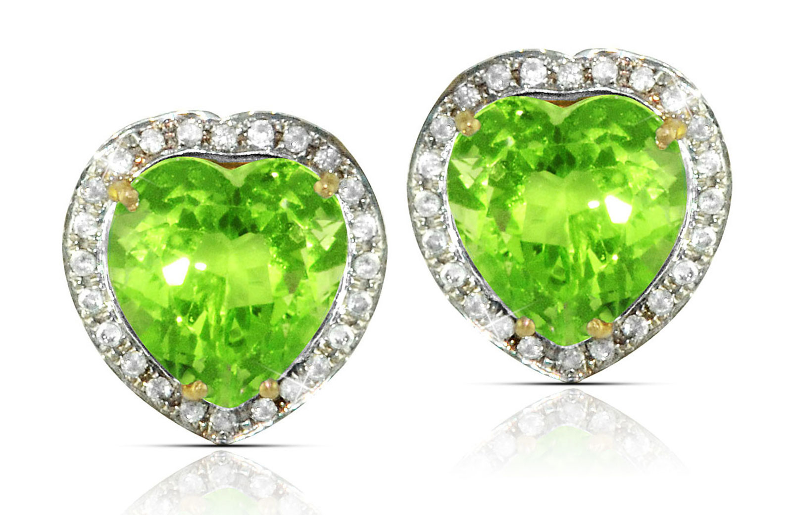 Vera Perla  18k  Gold 10mm Genuine Heart  Cut Peridot 0.28Ct Genuine Diamonds earrings