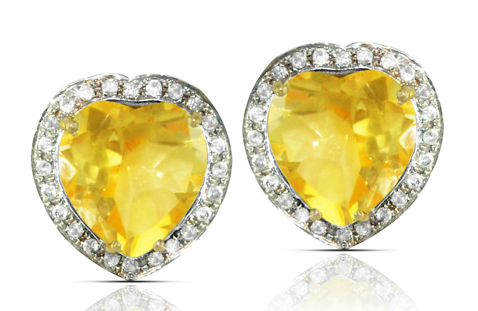 Vera Perla 18k  Gold 10mm Genuine Heart  Cut Citrine 0.28Ct Genuine Diamonds earrings