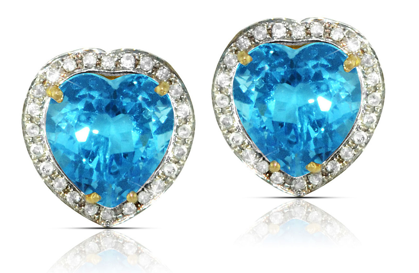 Vera Perla 18k  Gold 10mm Genuine Heart  Cut Swiss Blue Topaz 0.28Ct Genuine Diamonds earrings