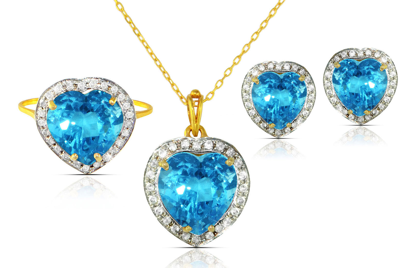 Vera Perla 18k  Gold 10mm Genuine Heart  Cut Swiss Blue Topaz 0.56Ct Genuine Diamonds Jewelry Set
