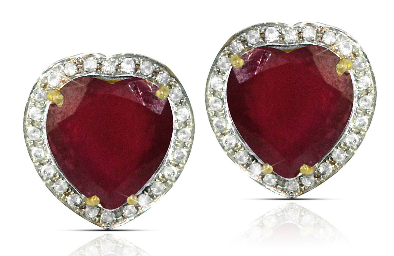Vera Perla 18k  Gold 10mm Genuine Heart  Cut Ruby 0.28Ct Genuine Diamonds earrings