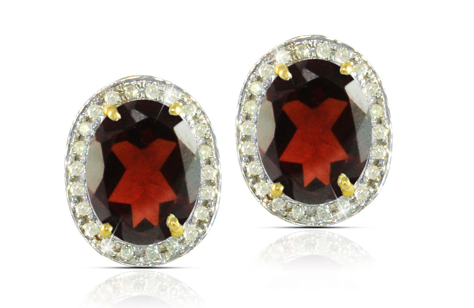 Vera Perla 18k  Gold 10mm Genuine Oval  Cut Garnet 0.24Ct Genuine Diamonds earrings