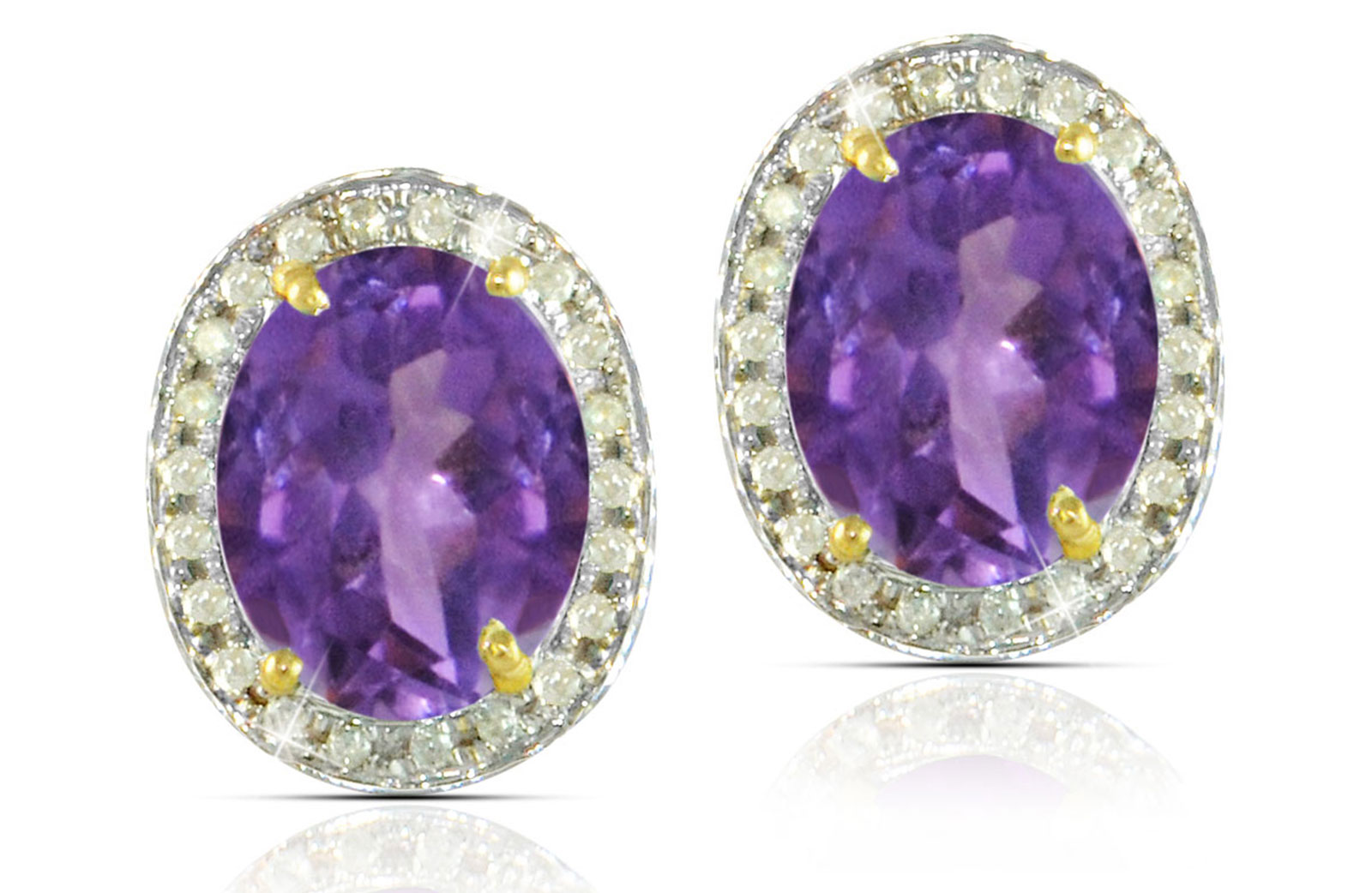 Vera Perla 18k  Gold 10mm Genuine Oval  Cut Amethyst 0.24Ct Genuine Diamonds earrings