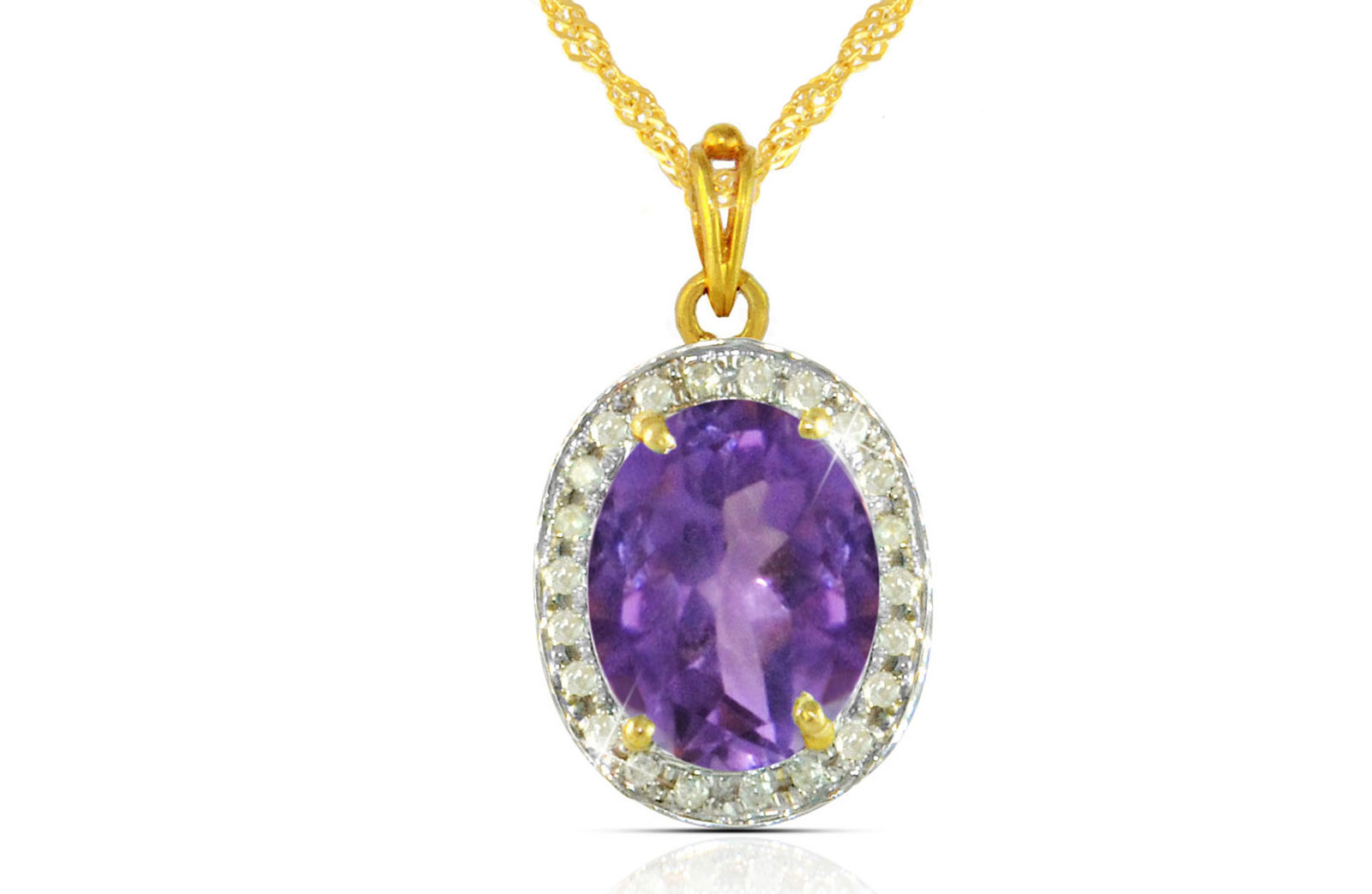 Vera Perla 18k  Gold 10mm Genuine Oval   Cut Amethyst 0.12Ct Genuine Diamonds Necklace