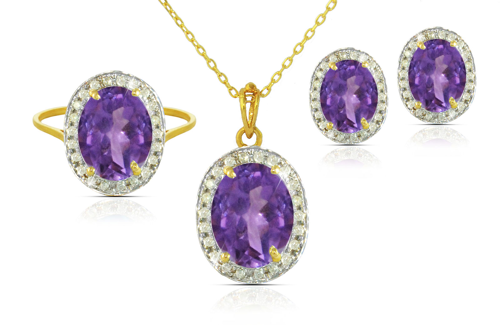 Vera Perla 18k  Gold 10mm Genuine Oval  Cut Amethyst 0.48Ct  Genuine Diamonds Jewelry Set