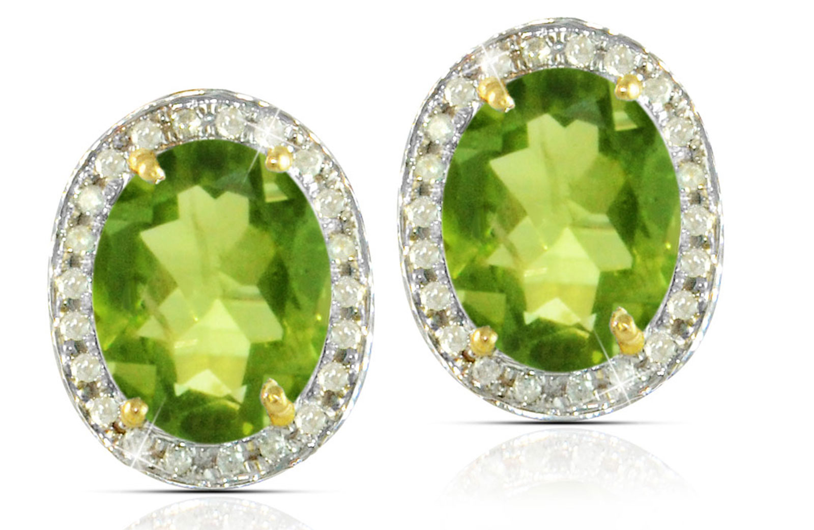 Vera Perla 18k  Gold 10mm Genuine Oval  Cut Peridot 0.24Ct Genuine Diamonds earrings