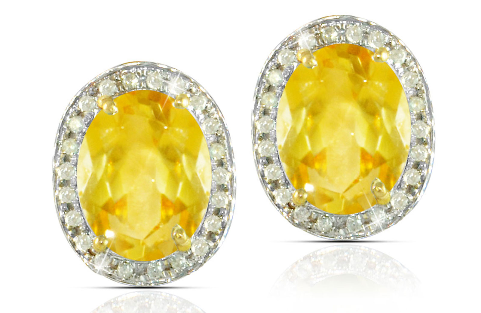 Vera Perla 18k  Gold 10mm Genuine Oval  Cut Citrine 0.24Ct Genuine Diamonds earrings