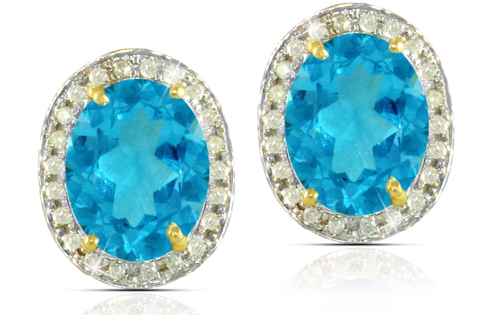 Vera Perla 18k  Gold 10mm Genuine Oval  Cut Swiss Blue Topaz 0.24Ct Genuine Diamonds earrings