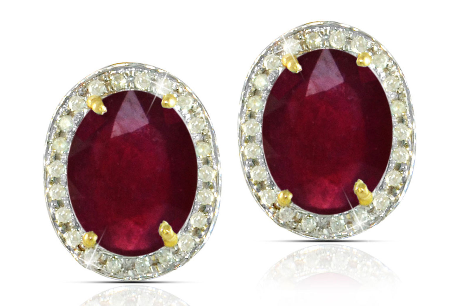 Vera Perla 18k  Gold 10mm Genuine Oval  Cut Ruby 0.24Ct Genuine Diamonds earrings