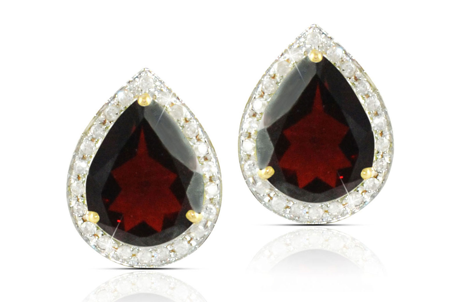 Vera Perla  18k  Gold 10mm Genuine Drop  Cut Garnet 0.24Ct Genuine Diamonds earrings