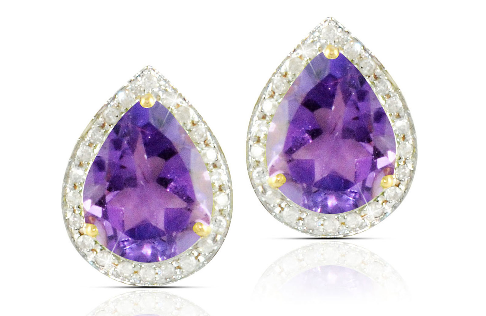 Vera Perla 18k  Gold 10mm Genuine Drop  Cut Amethyst 0.24Ct Genuine Diamonds earrings