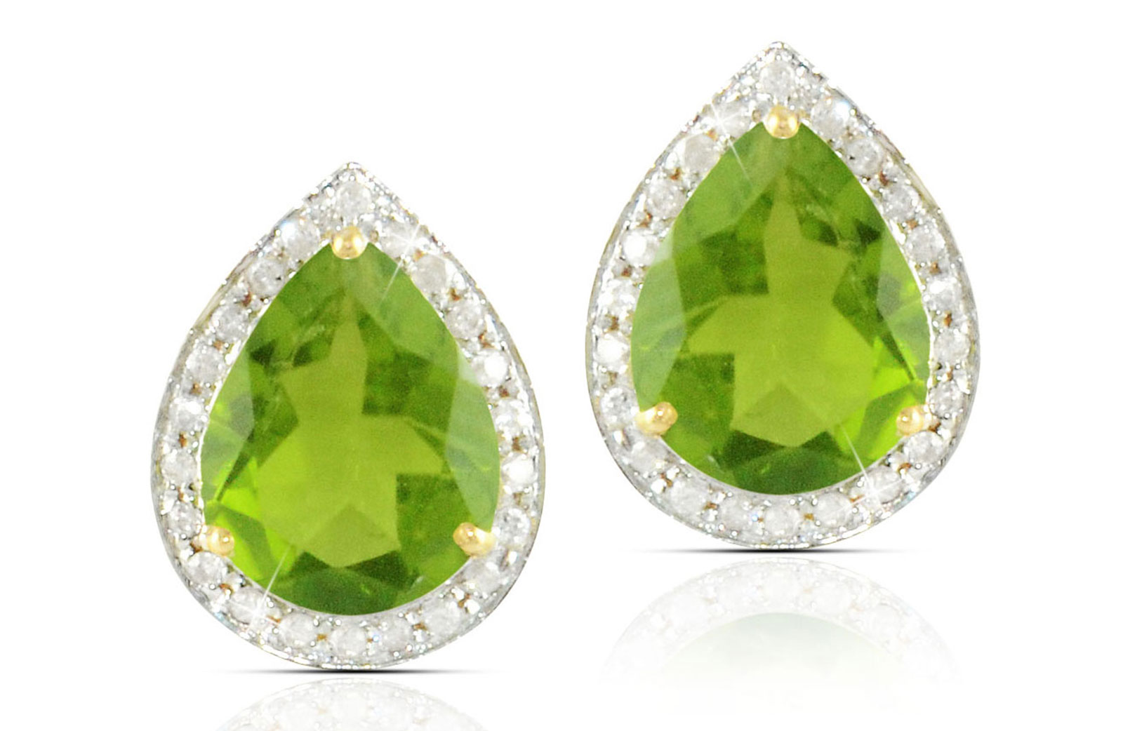 Vera Perla 18k  Gold 10mm Genuine Drop  Cut Peridot 0.24Ct Genuine Diamonds earrings