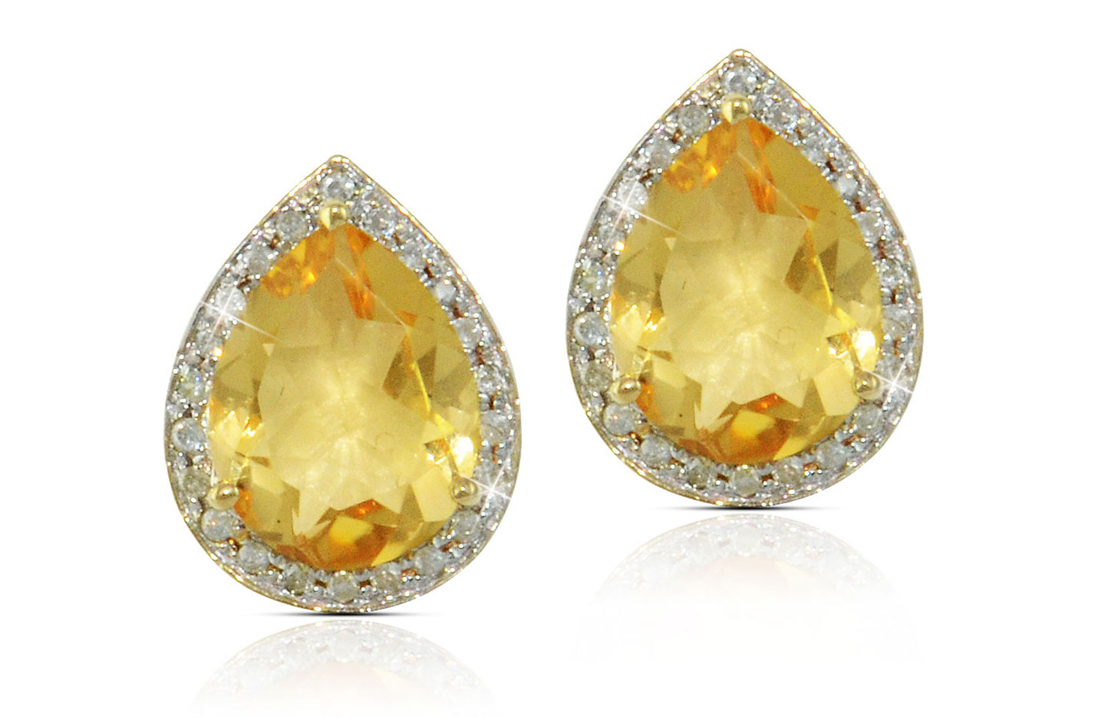 Vera Perla 18k  Gold 10mm Genuine Drop  Cut Citrine 0.24Ct Genuine Diamonds earrings