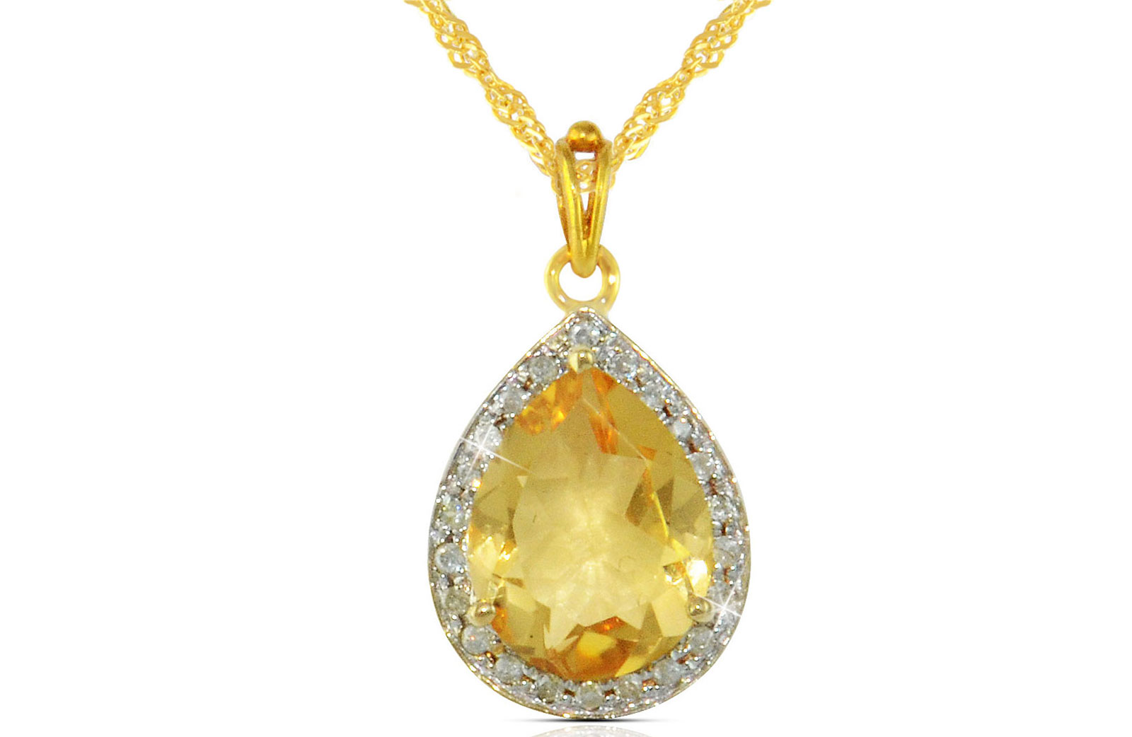 Vera Perla 18k  Gold 10mm Genuine Drop   Cut Citrine 0.12Ct Genuine Diamonds Necklace