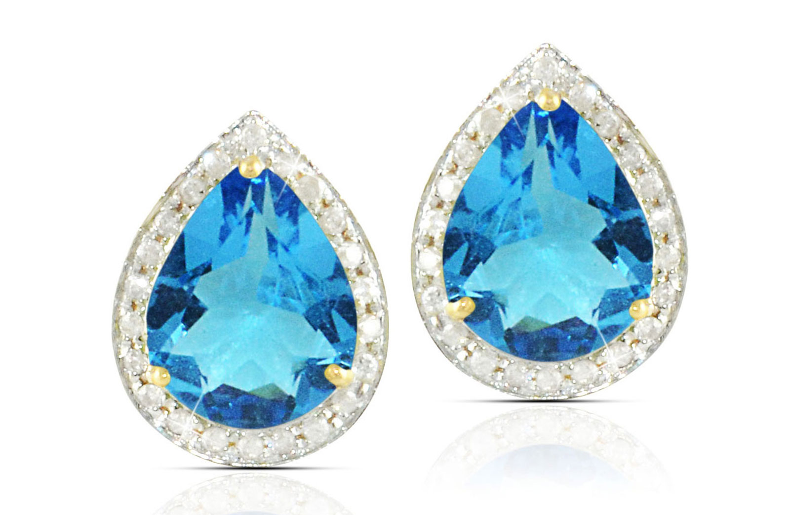 Vera Perla 18k  Gold 10mm Genuine Drop  Cut Swiss Blue Topaz 0.24Ct Genuine Diamonds earrings
