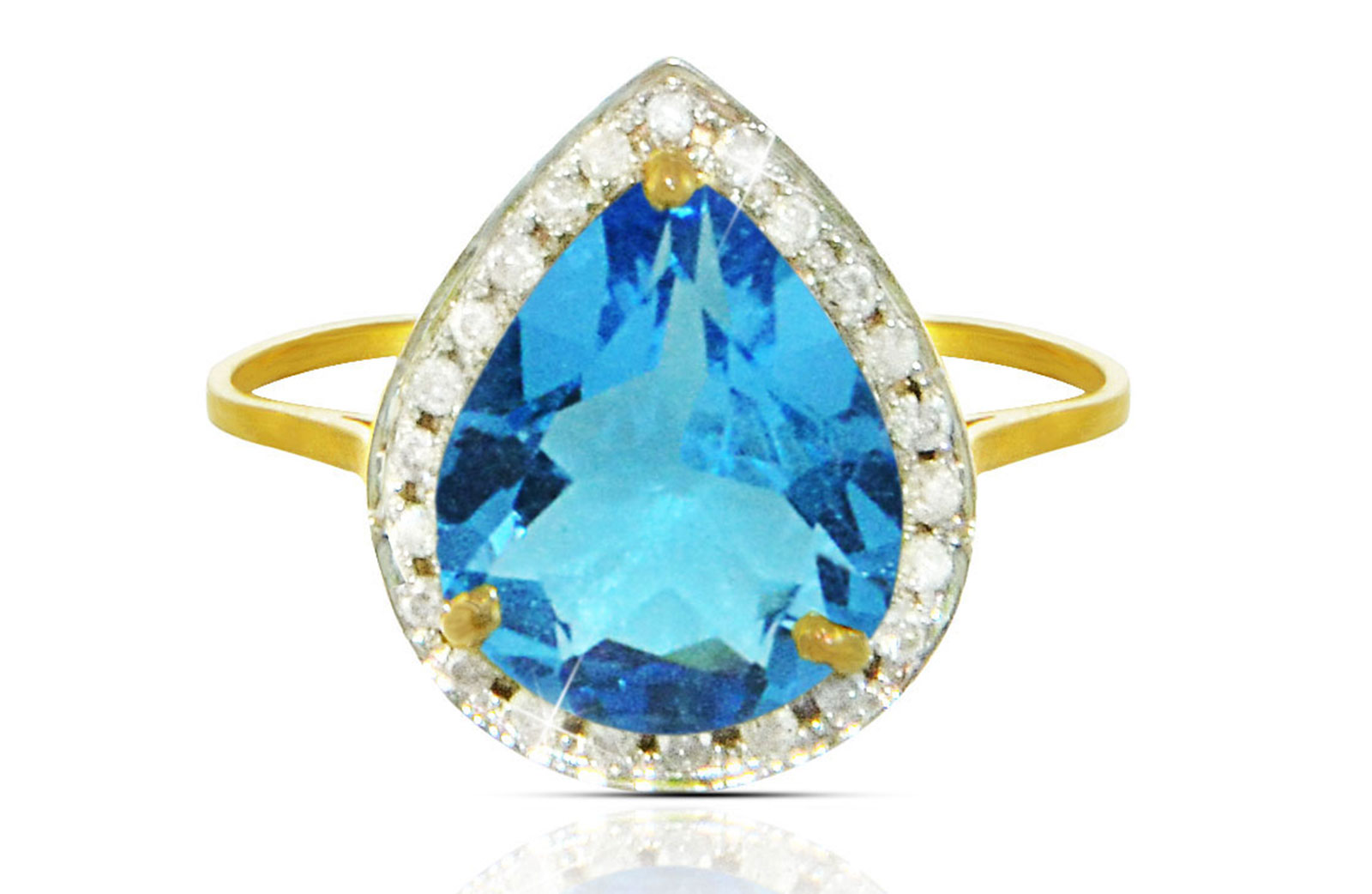 Vera Perla 18k  Gold 10mm Genuine Drop   Cut Swiss Blue Topaz 0.12Ct Genuine Diamonds Ring -SIZE 6.5 US