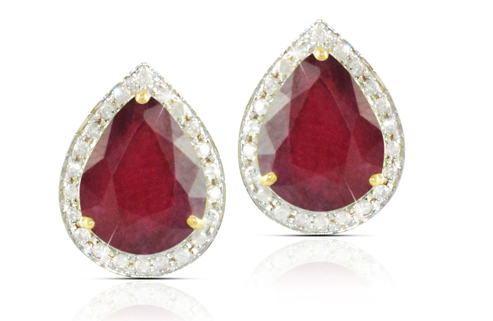 Vera Perla 18k  Gold 10mm Genuine Drop  Cut Ruby 0.24Ct Genuine Diamonds earrings