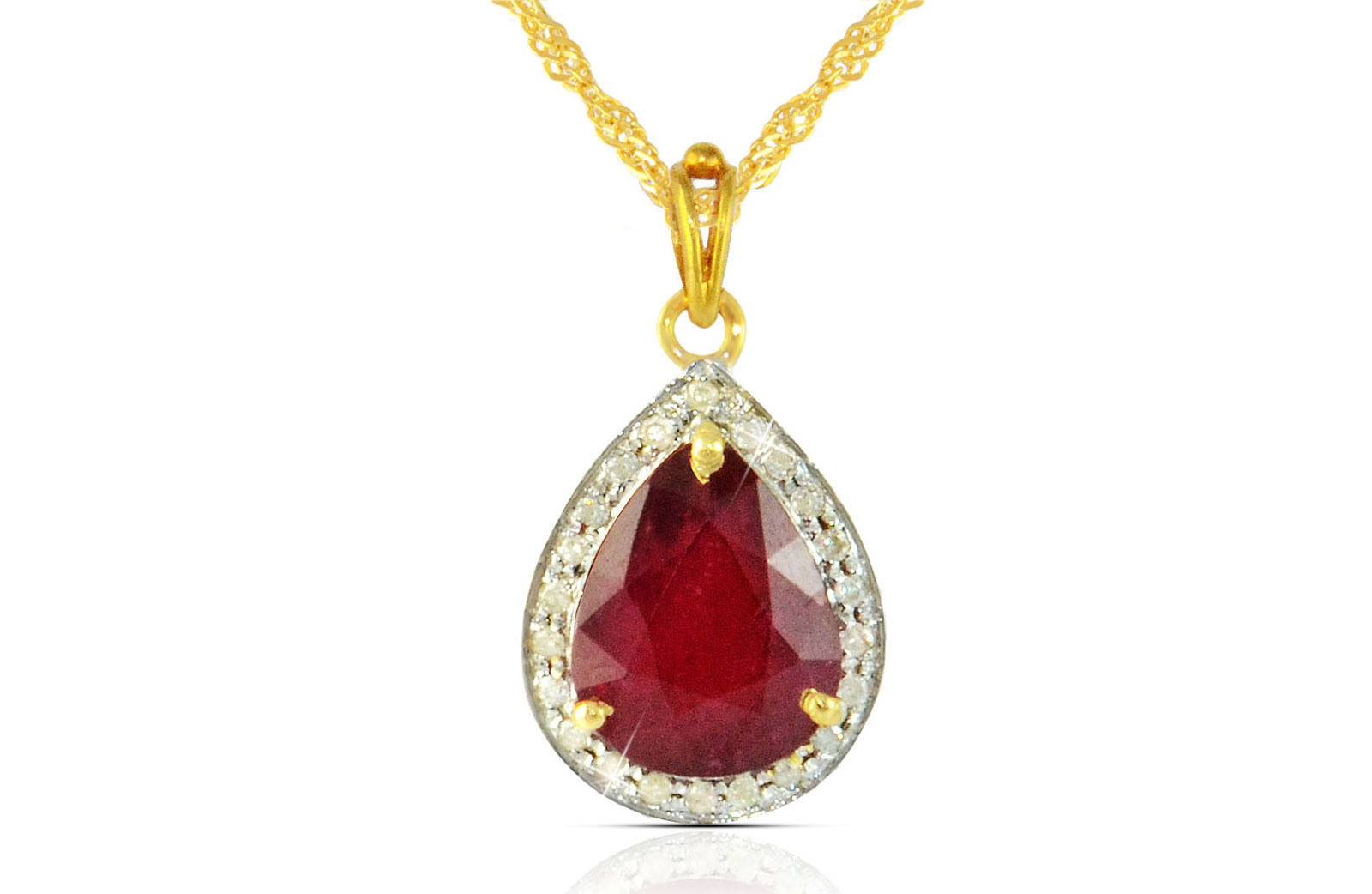 Vera Perla 18k  Gold 10mm Genuine Drop   Cut Ruby 0.12Ct Genuine Diamonds Necklace