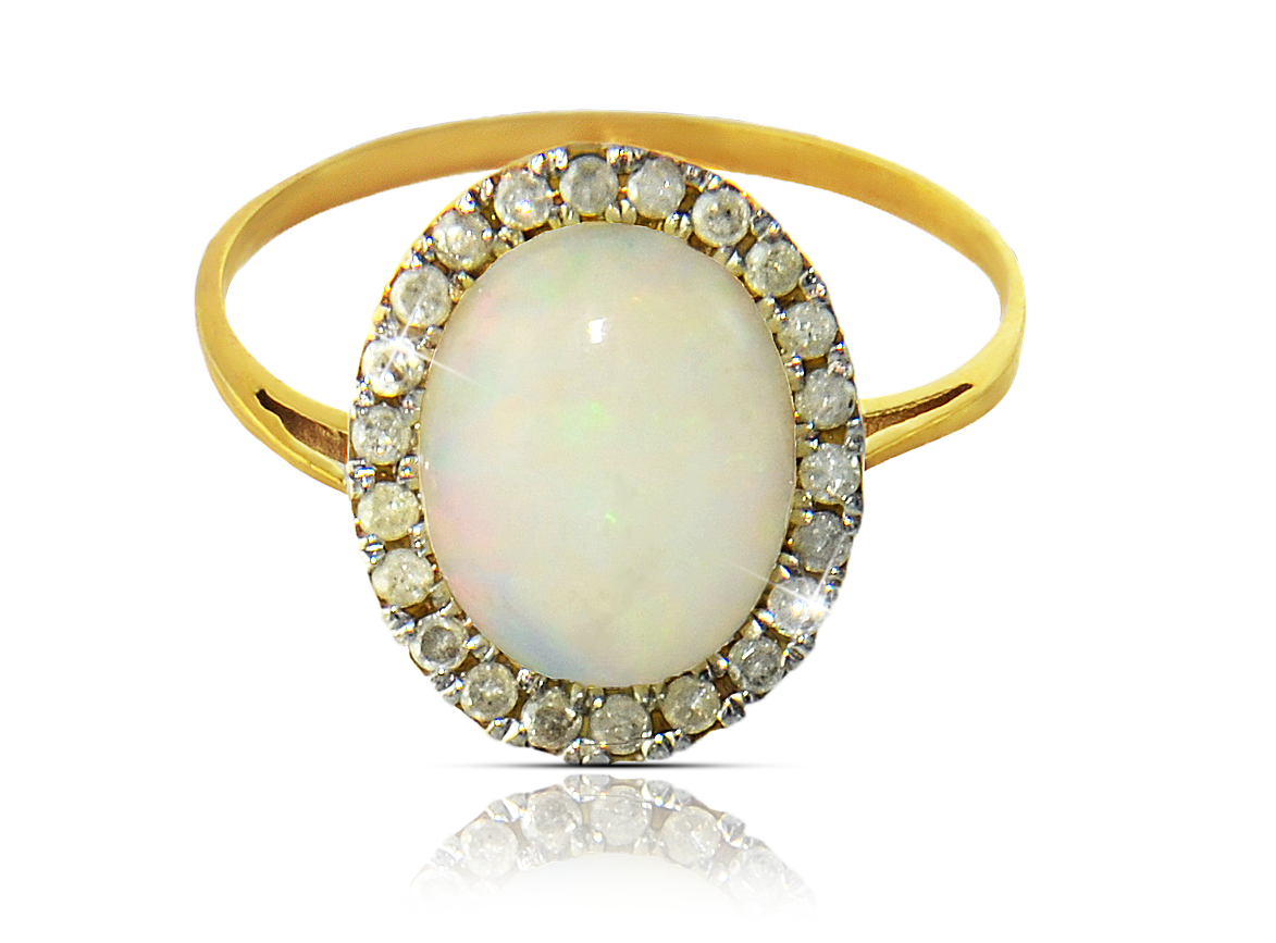 VP Jewels: 10K  Gold 10mm Genuine Oval  Cabochon Cut Opal 0.22Ct Genuine Diamonds Ring -SIZE 6.5 US