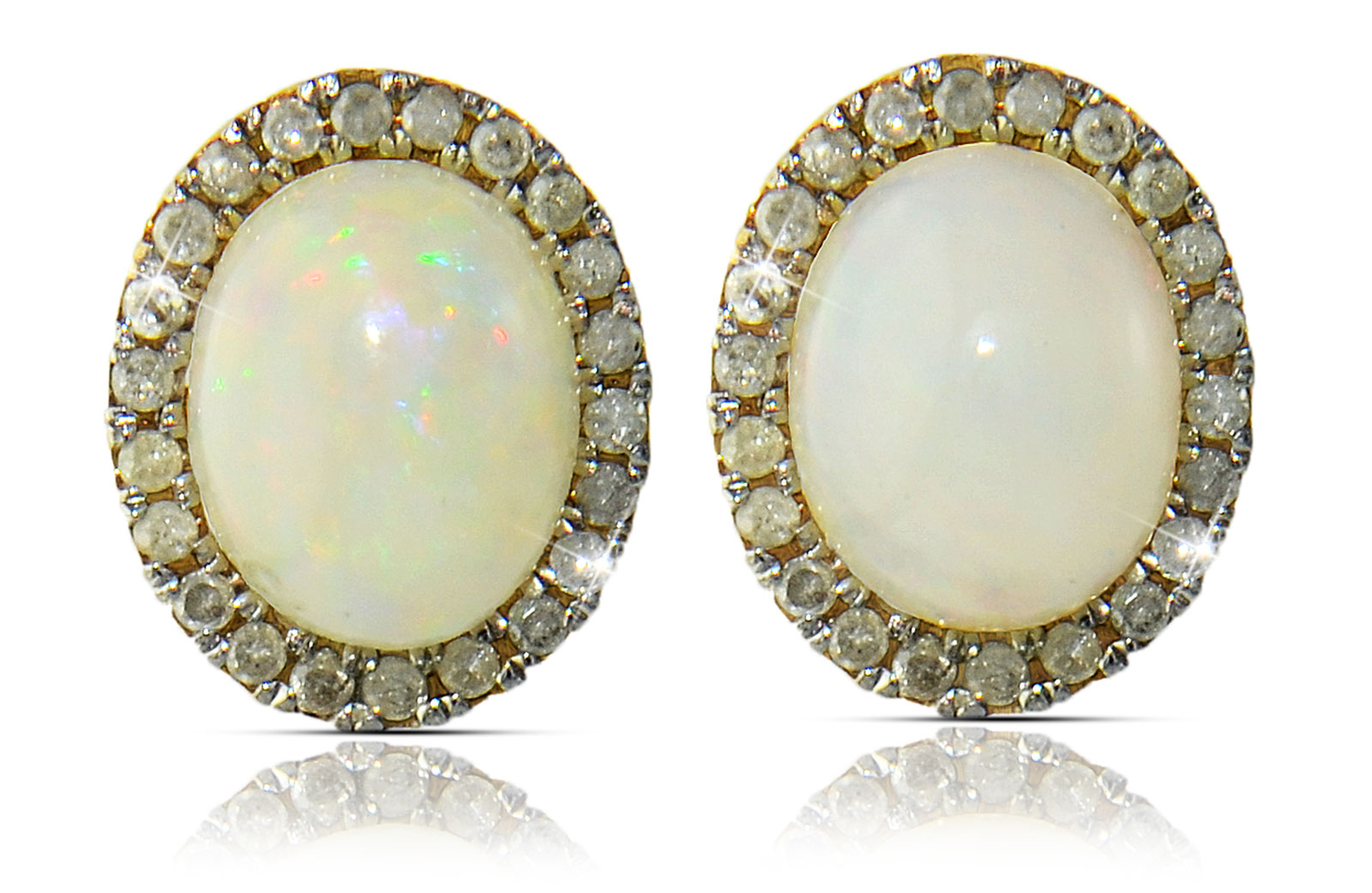VP Jewels:10K  Gold 10mm Genuine Oval  Cabochon Cut Opal 0.44Ct Genuine Diamonds earrings