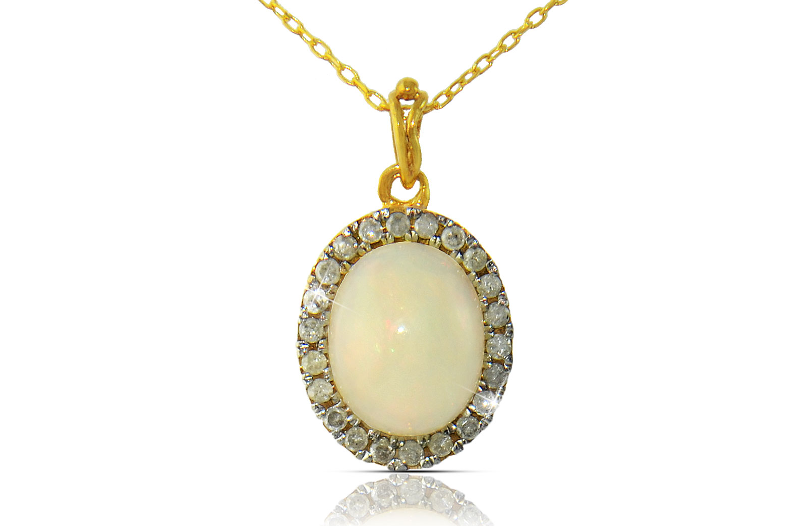 VP Jewels: 10k  Gold 10mm Genuine Oval  Cabochon Cut Opal 0.22Ct Genuine Diamonds Necklace