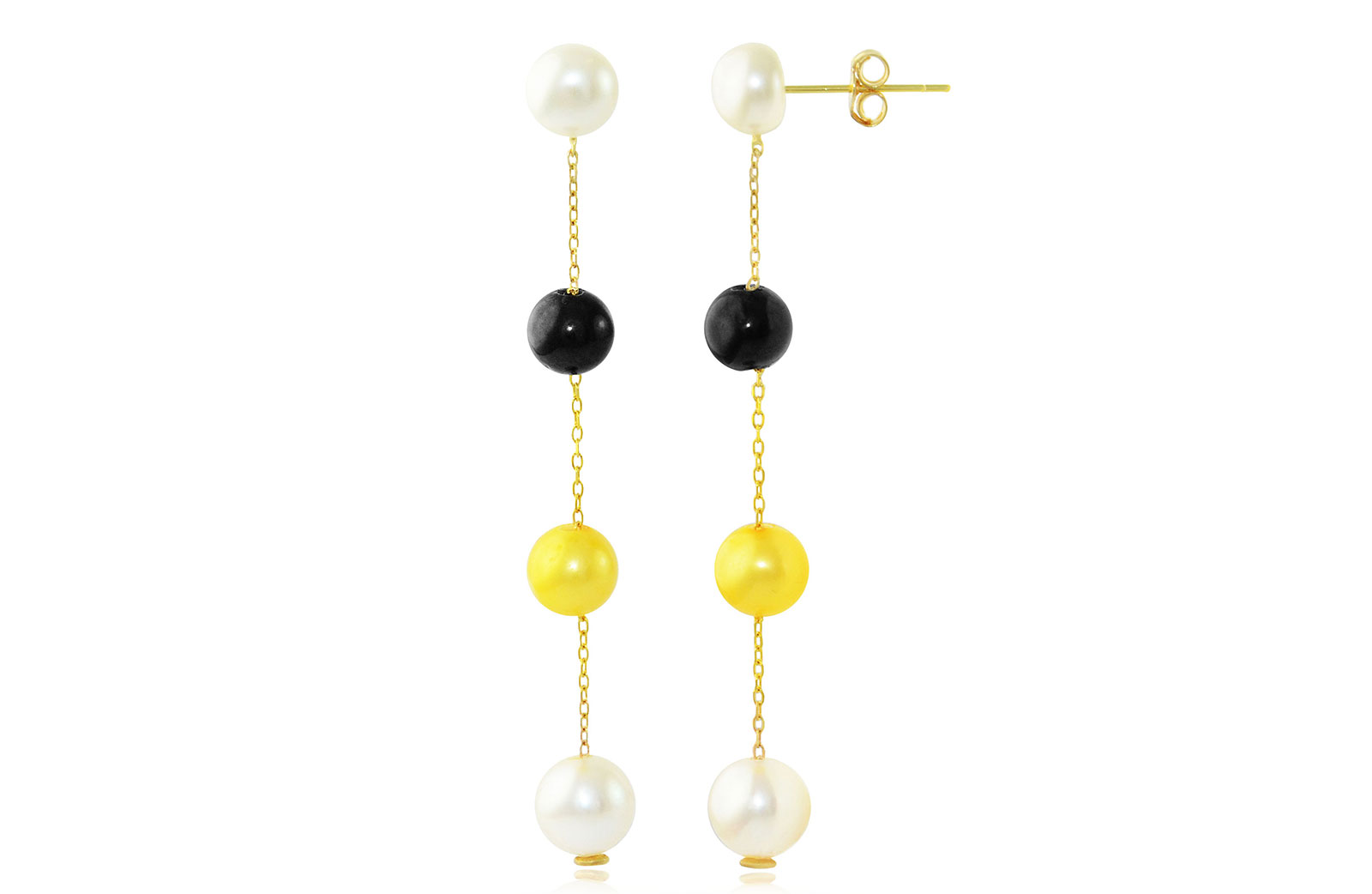 VP Jewels: 18K  Yellow Gold 5-7mm Genuine  Golden-Yelow, White and Black  Pearls earrings