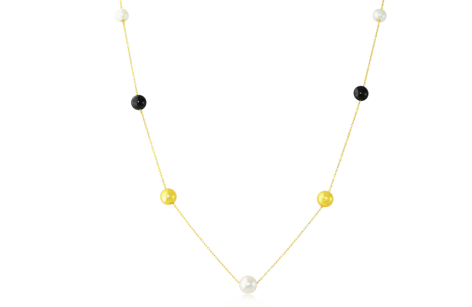 Vp Jewels 18K Solid Gold 5-7MMGradual  Built-in Golden-Yelow, White and Black  Pearl Necklace